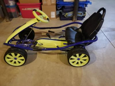 Like New!!! Kettler Ride On Go Cart style blue/flourescent yellow Pedal Car Ages 4-9yrs