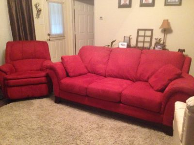 Microsuede Red Sofa and Recliner