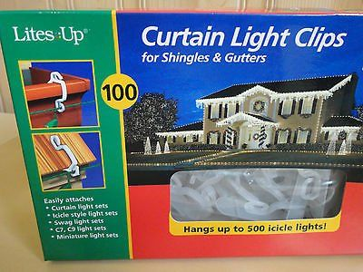 Brand New 100x = 1 box curtain light clips for shingles & gutters
