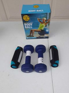 Gold's Gym Body Ball 5lb Rubber Dumbbells & 2lb Hand Weights