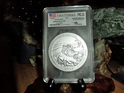 2014-P First Strike PCGS SP 70 SHENANDOAH NATIONAL PARK 5 oz. SILVER QUARTER with JOHN M. MERCANTI