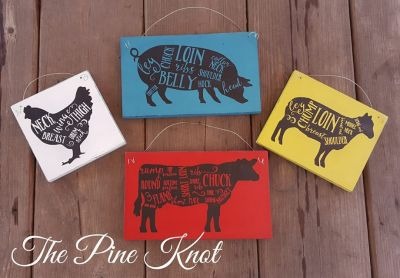 "Set of 4 ""FARM ANIMAL"" kitchen signs"
