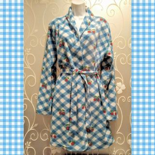 WOMENS BLUE CHECKERED CHERRIES ROBE ONE SIZE (READ)