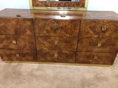 9 drawer dresser, mirror not included, plus 2 night stands $75 for all
