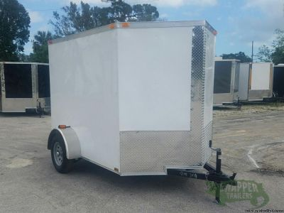 New 6x8 Cargo Trailer White Color w/Xtra 3in. Height