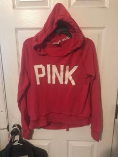 Pink hoodie size women s sm but runs big- more like a lg in my opinion. GUC for wear.