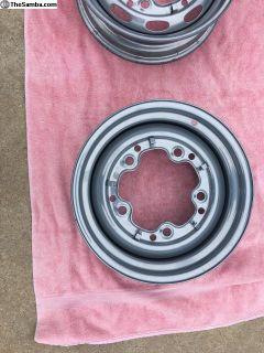 2 wide 5 powder coated steel wheels