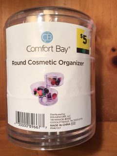 New! Acrylic Round Cosmetic Organizer. Compartments swing out. Approx 6 tall and 5 across.
