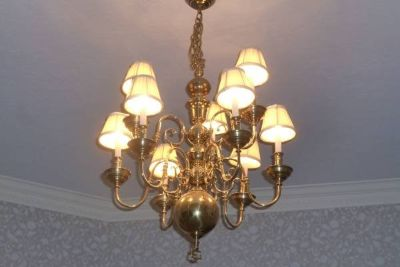 GORGEOUS 2 Tier, 9 BULB w/SHADES Gold Chandelier Light Fixture
