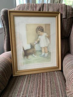 Framed Vintage Print: Child feeding her Puppy