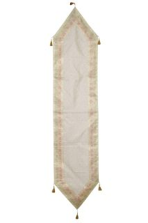 Ethnic Hand Made White Indian Silk Sari Table Runner Home Decor 72x16