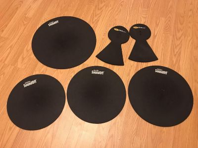Drum pads. Size 12, 13, 14, and 16. Plus two cymbal pads. All used but have life left in them.