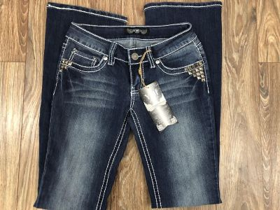 New YMI Thick Stitch Stud Embellished Bootcut Jeans Size 1