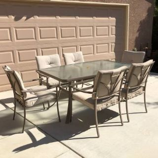 7-Pc Glass Top Patio Set with Cushions