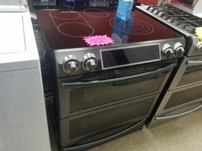 Samsung double oven slide in black stainless steel stove