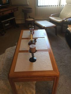 Oak Coffee Table With Ceramic Inserts