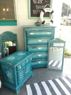 Coastal dresser and nightstand and mirror