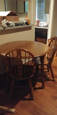 """40"""" round dining room table and 4 chairs"""