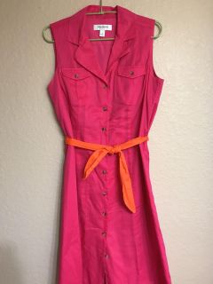 Pink Gorgeous Sleeveless Dress Accented With An Orange Belt!