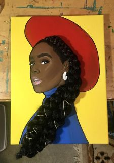 12x16 Acrylic Portrait (with braiding hair attached) of Janelle Mon e