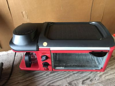 Coffeemaker toaster oven and grill all in one