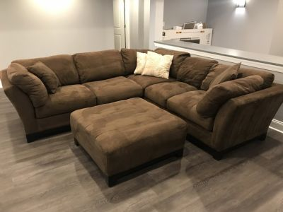 Cindy Crawford brown sectional with ottoman