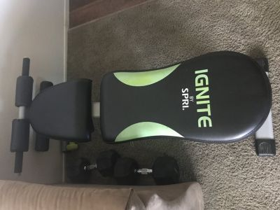 Work out bench with 40lbs weights