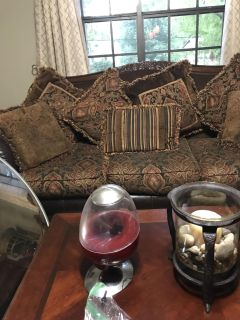 Beautiful leather and cloth sofa and loveseat