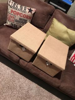 2 new with tags burlap covered boxes with lids from hobby lobby , retail $21.99 each , bought and have been sitting in closest ..b I g !