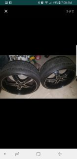 """22"""" Black Rims and Tires"""