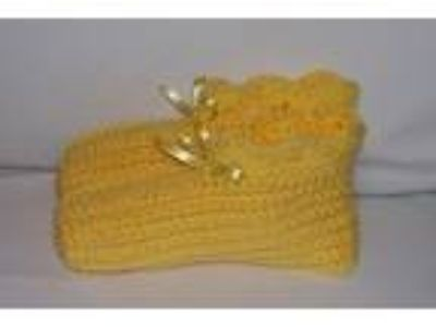 Ladies Size Handmade Crochet Slippers House Shoes--Lemon