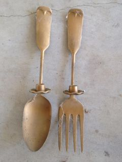 Antique spoon & fork candle holders