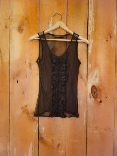 Sheer lace black formal top womens XS