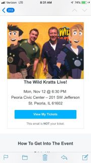 The Wild Kratts Live! In Peoria (5 tickets)