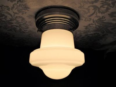 1940 Art Deco Mid-Century Flying Saucer Milk Glass Shade Ceiling Light