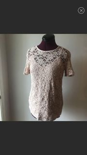 Pink lace maternity top pea in the pod