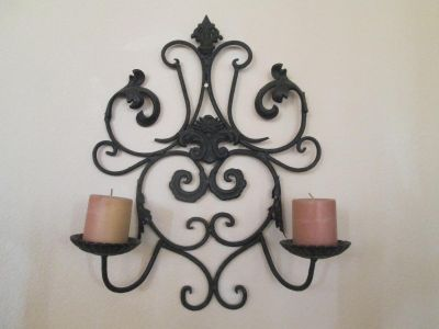 Beautiful Large Heavy Wrought Iron Metal Scroll Wall Sconce Candelabra Candle Holder