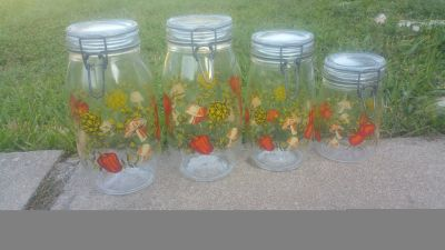 Vintage jars with latching lids