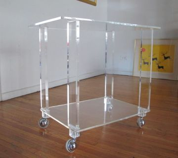 Vintage Italian Modernist Lucite Rolling Table