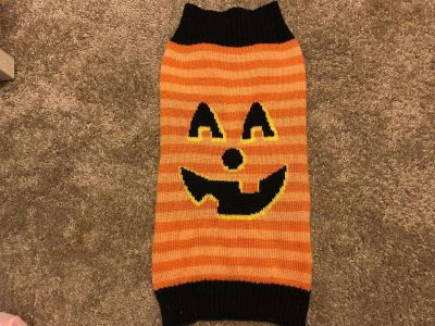 Size medium jack-o-lantern dog sweater