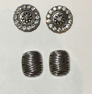 Antiqued Silver Disc s & Textured Earrings Set Of 2