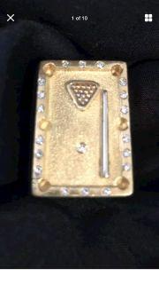 Custom made original 24.6 grams 18 K Gold Billiard Ring with 19 Diamonds