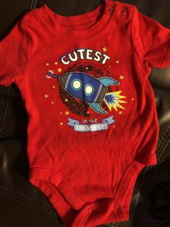 Cutest In The Universe Red Playsuit Onesie. Nice Condition. Size 3-6 Months