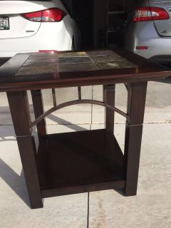 2-wood end tables with slate inlay top $100 each(cross post)