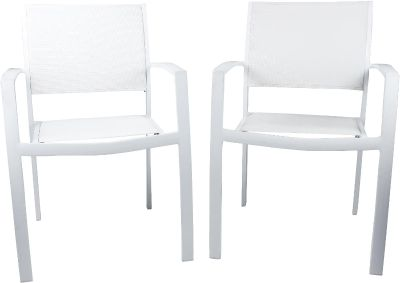 White powder coated metal chairs with mesh seats/back