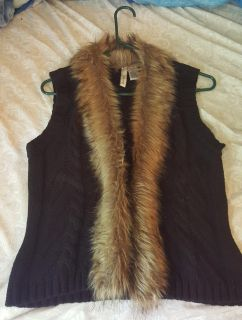 Fuzzy lined vest, black and brown, size lg