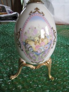 Vintage Lenox China Treasures Collection Porcelain Egg With Stand