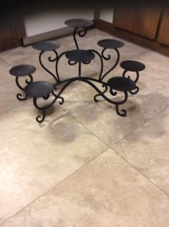 EUC wrought iron multi- level candle stand. 14 tall 11 depth 25 wide, for 8 candles