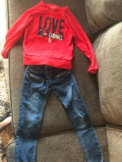 Girls size 7/8 cardinals sweatshirt, Mudd skinny jeans and justice pullover