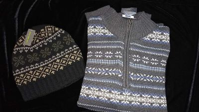Mens hat and sweater size XL NEW!